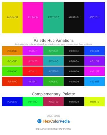 Palette image download - Gold – Deep Pink – Light Sea Green – Black – Blue