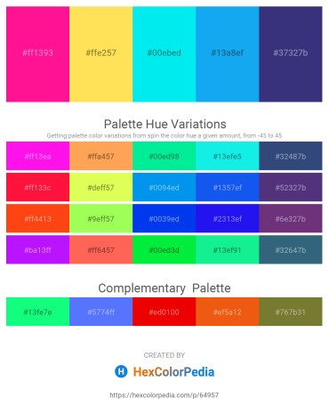 Palette image download - Deep Pink – Midnight Blue – Aqua – Deep Sky Blue – Dark Slate Blue