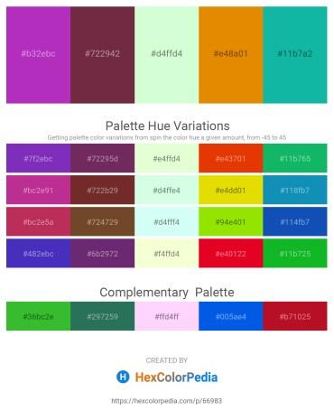 Palette image download - Dark Orchid – Brown – Honeydew – Dark Orange – Light Sea Green