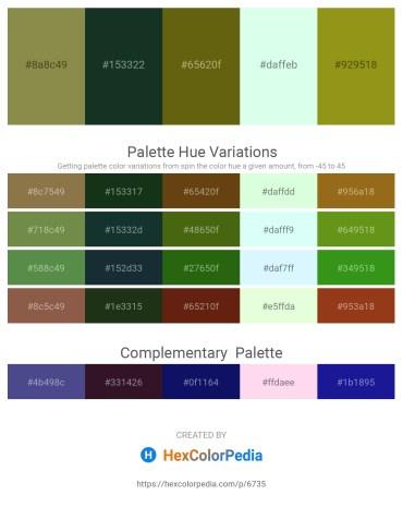 Palette image download - Dark Olive Green – Dark Slate Gray – Olive Drab – Mint Cream – Olive Drab
