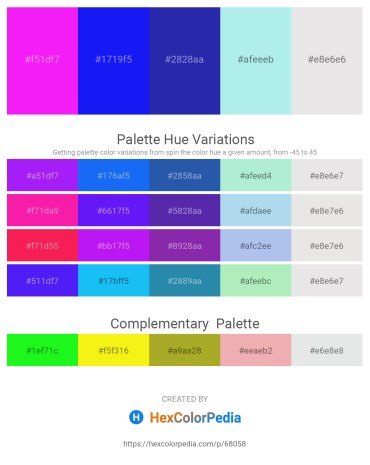 Palette image download - Deep Pink – Blue – Midnight Blue – Pale Turquoise – Gainsboro