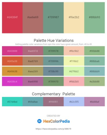 Palette image download - Indian Red – Rosy Brown – Cadet Blue – Wheat – Dark Sea Green