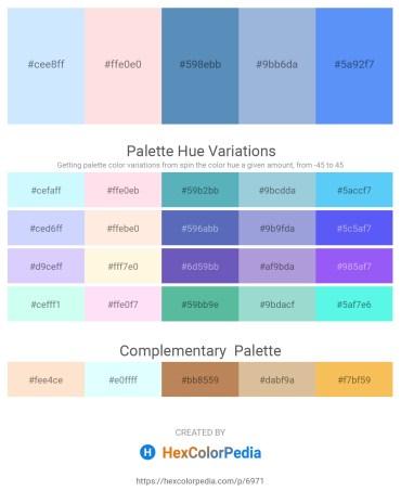 Palette image download - Light Cyan – Misty Rose – Steel Blue – Light Steel Blue – Cornflower Blue