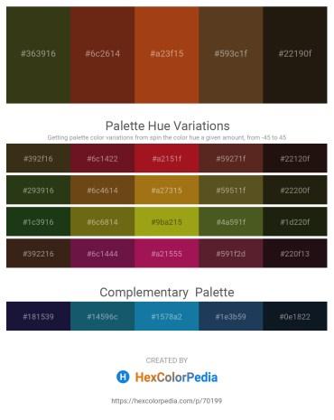 Palette image download - Dark Olive Green – Saddle Brown – Saddle Brown – Red – Sandy Brown
