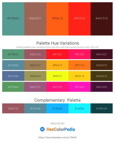 Palette image download - Cadet Blue – Rosy Brown – Orange Red – Red – Violet