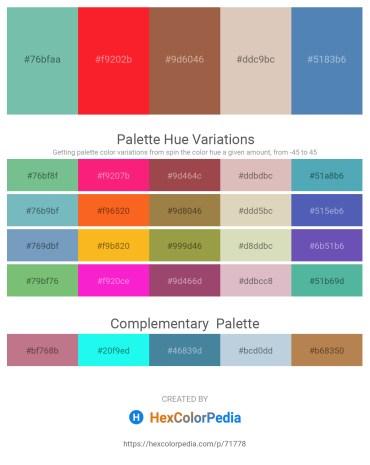 Palette image download - Medium Aquamarine – Red – Sienna – Tan – Steel Blue