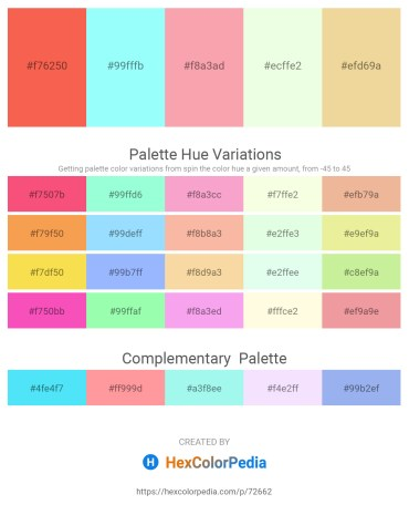 Palette image download - Tomato – Aquamarine – Light Pink – Honeydew – Khaki