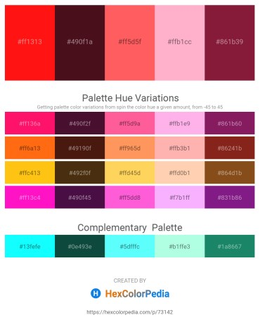 Palette image download - Red – Tomato – Tomato – Light Pink – Brown