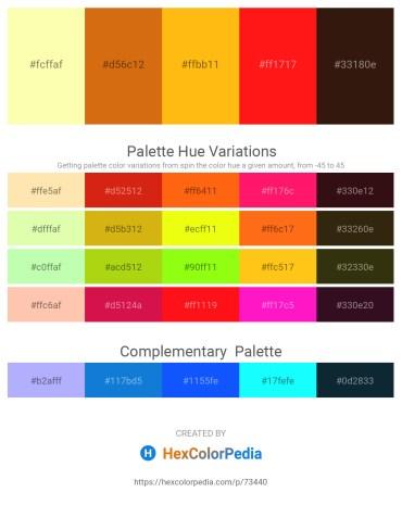 Palette image download - Moccasin – Chocolate – Orange – Red – Dark Slate Blue