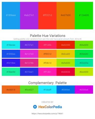 Palette image download - Dodger Blue – Blue Violet – Orange Red – Dark Orange – Lime