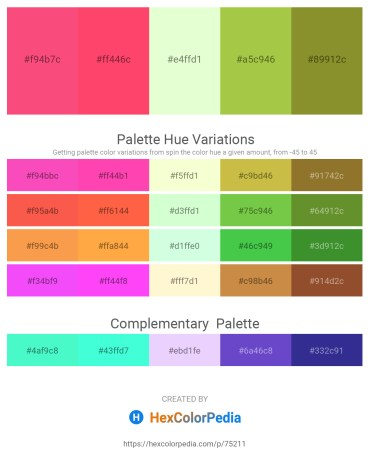 Palette image download - Salmon – Tomato – Honeydew – Yellow Green – Olive Drab