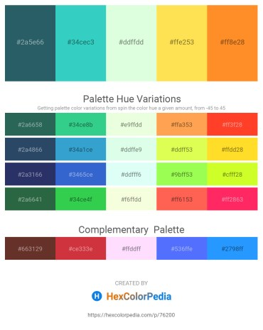 Palette image download - Dark Slate Gray – Medium Turquoise – Honeydew – Tomato – Dark Orange