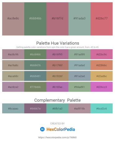 Palette image download - Rosy Brown – Pink – Rosy Brown – Dark Sea Green – Indian Red