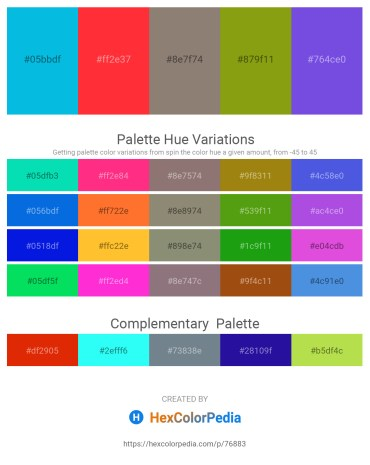 Palette image download - Dark Turquoise – Tomato – Gray – Chocolate – Blue Violet