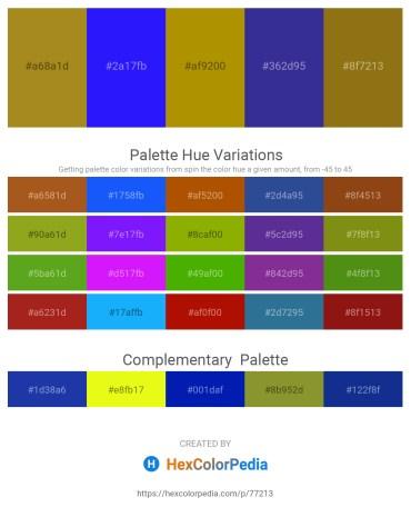 Palette image download - Rosy Brown – Blue – Dark Goldenrod – Dark Slate Blue – Light Steel Blue