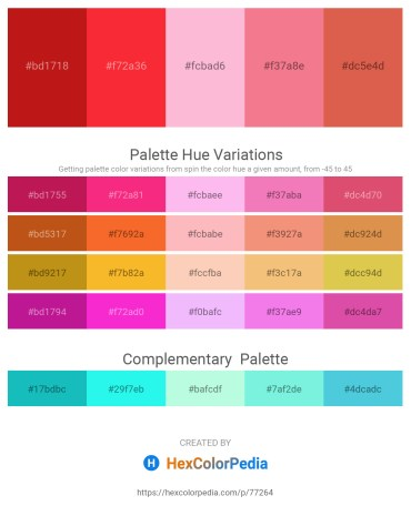 Palette image download - Firebrick – Crimson – Pink – Light Coral – Indian Red