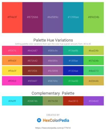 Palette image download - Tomato – Misty Rose – Dark Slate Blue – Light Sea Green – Yellow Green