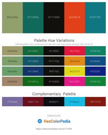 Palette image download - Dark Sea Green – Dark Olive Green – Black – Chocolate – Teal