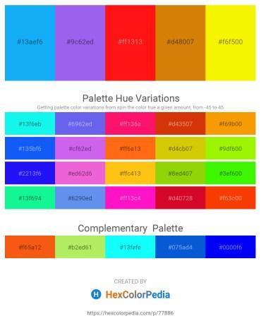 Palette image download - Deep Sky Blue – Medium Slate Blue – Red – Dark Goldenrod – Yellow