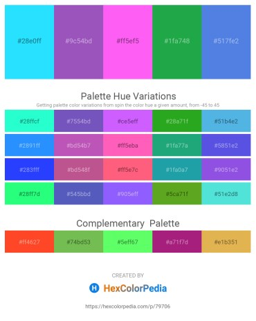 Palette image download - Aqua – Medium Orchid – Hot Pink – Forest Green – Royal Blue