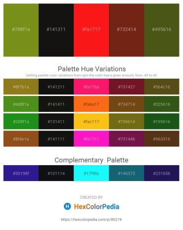 Palette image download - Olive Drab – Black – Red – Saddle Brown – Dim Gray