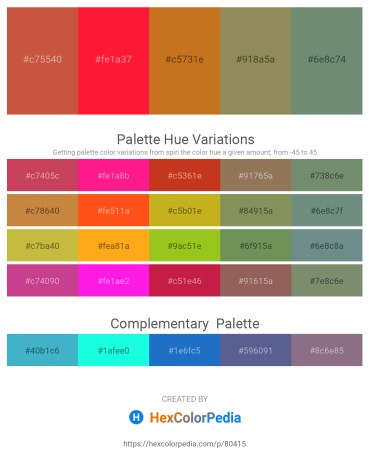 Palette image download - Indian Red – Red – Chocolate – Dark Khaki – Khaki