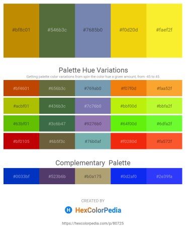 Palette image download - Dark Goldenrod – Dark Olive Green – Light Slate Gray – Gold – Yellow