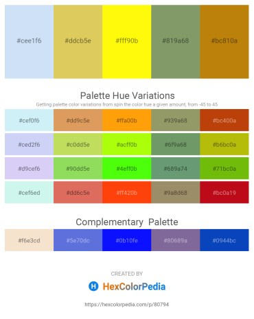 Palette image download - Lavender – Burlywood – Yellow – Dark Sea Green – Dark Goldenrod