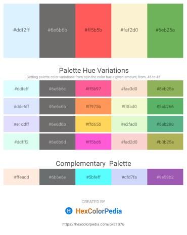 Palette image download - Alice Blue – Dim Gray – Tomato – Light Goldenrod Yellow – Medium Sea Green