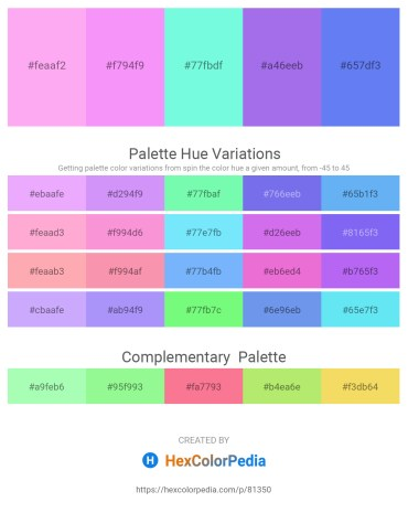 Palette image download - Pink – Tomato – Aquamarine – Medium Slate Blue – Cornflower Blue