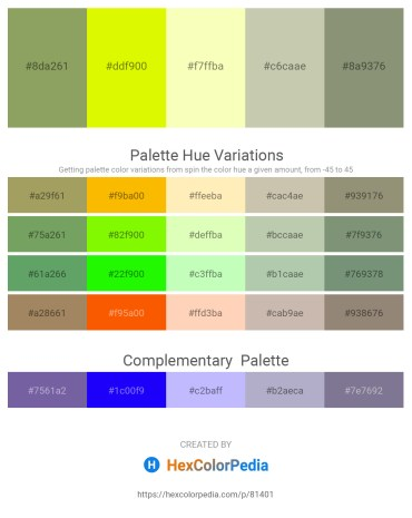 Palette image download - Dark Khaki – Yellow – Lemon Chiffon – Dark Sea Green – Gray