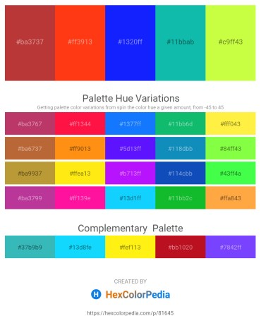 Palette image download - Brown – Orange Red – Blue – Light Sea Green – Green Yellow
