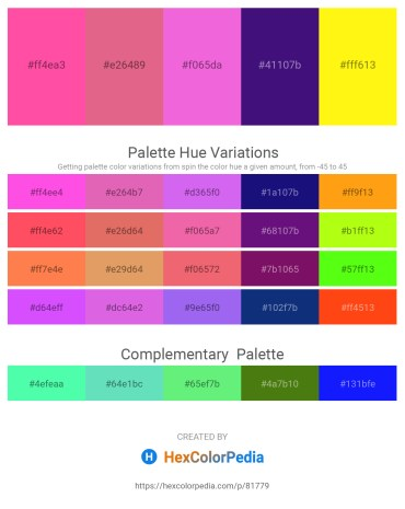 Palette image download - Hot Pink – Pale Violet Red – Violet – Midnight Blue – Yellow