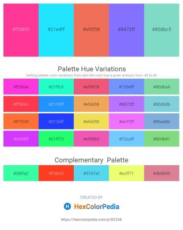 Palette image download - Deep Pink – Aqua – Light Coral – Medium Slate Blue – Medium Aquamarine