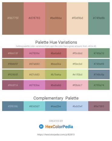 Palette image download - Rosy Brown – Pale Violet Red – Dodger Blue – Pale Goldenrod – Cadet Blue