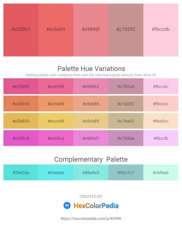 Palette image download - Indian Red – Light Coral – Dark Salmon – Rosy Brown – Pink