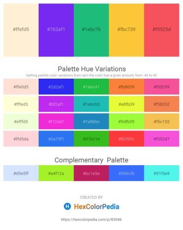 Palette image download - Papaya Whip – Blue Violet – Light Sea Green – Sandy Brown – Tomato