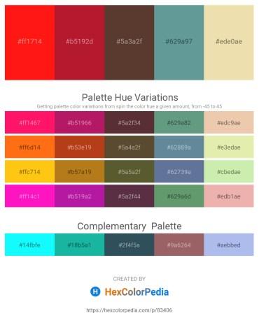 Palette image download - Red – Firebrick – Rosy Brown – Cadet Blue – Pale Goldenrod
