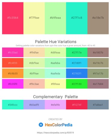 Palette image download - Tomato – Wheat – Pale Green – Turquoise – Rosy Brown