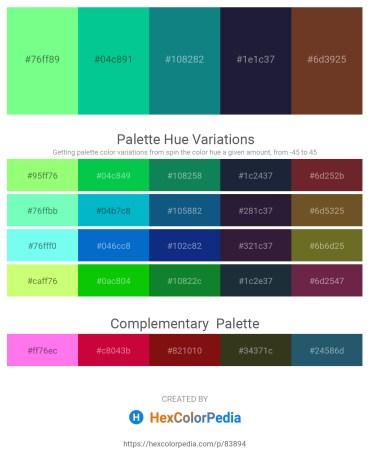 Palette image download - Pale Green – Medium Spring Green – Teal – Medium Orchid – Sienna
