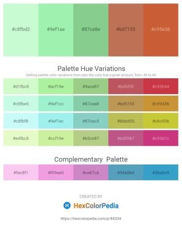 Palette image download - Honeydew – Light Green – Dark Sea Green – Indian Red – Peru