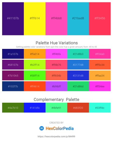 Palette image download - Midnight Blue – Yellow – Hot Pink – Light Sea Green – Tomato
