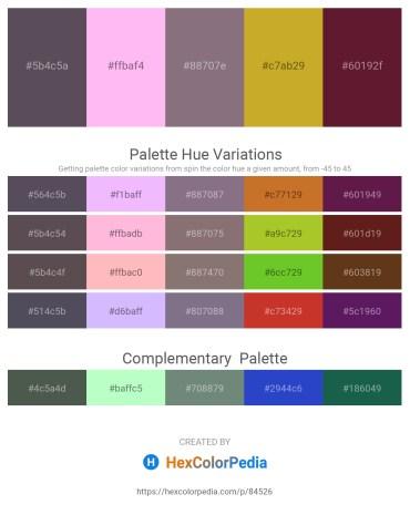 Palette image download - Dim Gray – Pink – Gray – Goldenrod – Brown