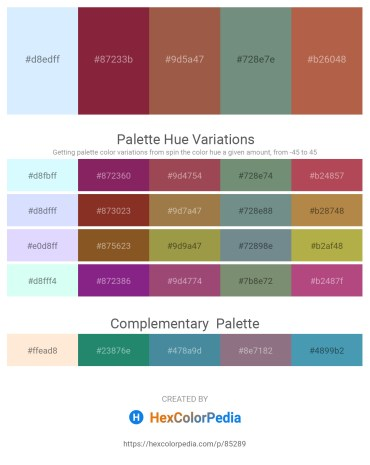 Palette image download - Alice Blue – Brown – Sienna – Slate Gray – Indian Red