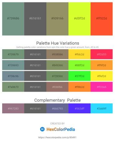 Palette image download - Cadet Blue – Dim Gray – Gray – Green Yellow – Tomato