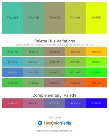 Palette image download - Medium Aquamarine – Cadet Blue – Dark Khaki – Yellow Green – Yellow