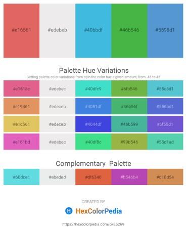 Palette image download - Indian Red – White Smoke – Rosy Brown – Medium Sea Green – Dark Slate Blue