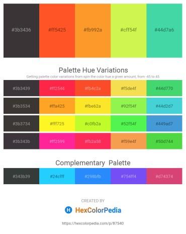 Palette image download - Dim Gray – Tomato – Dark Orange – Green Yellow – Medium Turquoise