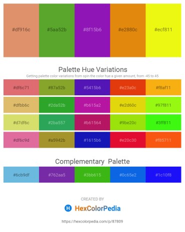 Palette image download - Dark Salmon – Olive Drab – Blue Violet – Dark Orange – Yellow