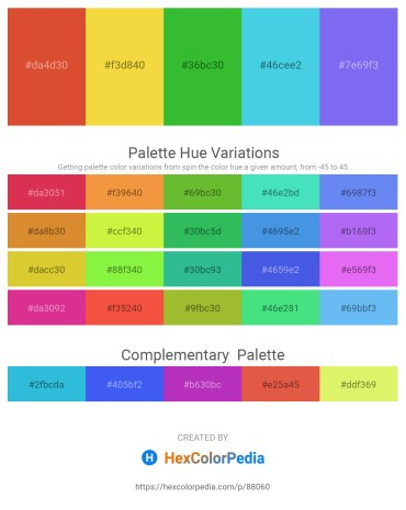 Palette image download - Chocolate – Yellow Green – Lime Green – Turquoise – Medium Slate Blue